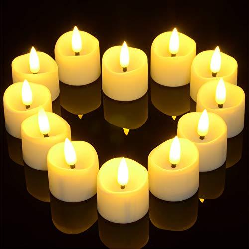 LED Kerzen mit Timerfunktion, Ymenow 12 Stk. Flammenlose LED Flackernde Batteriebetriebene Teelichter Votivkerzen mit Realistische Kerze Dochte für Hause Dating Valentines Hochzeits Geburtstag Deko