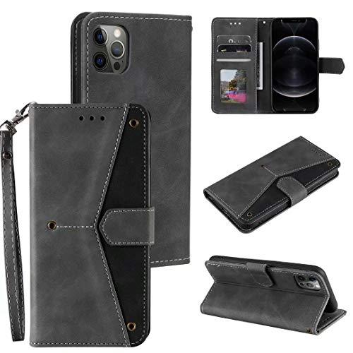 Schutzhülle für Huawei Y6p, stoßfest, PU-Leder, 3D-Spleißung, Brieftasche, Handyhüllen aus TPU, schmale Passform, Schutzhülle mit Ständer, Magnetkartenfächern, Halter für Huawei Y6p, grau