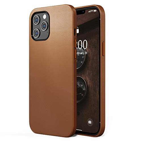SURPHY Faux Leather Case Compatible with iPhone 12 Pro Max Case 6.7 inches, Premium Faux Leather Case Cover (with Metallic Buttons & Microfiber Lining) Compatible with iPhone 12 Pro Max (Brown)