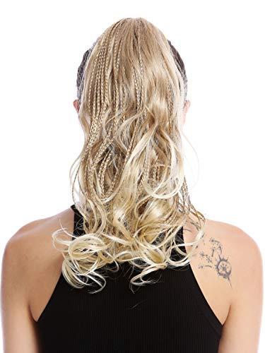 WIG ME UP - N472-V-15T613 Postiche couette queue de cheval tressée mèches bouclé ondulé blond platine 35 cm
