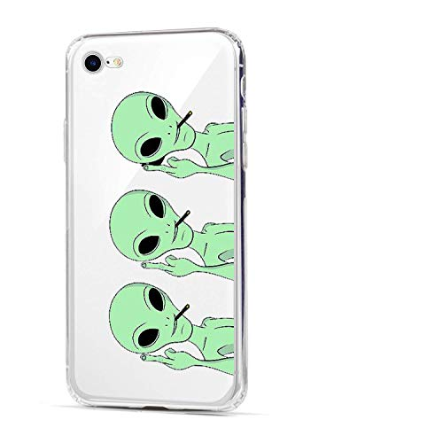 HUIYCUU Case Compatible with iPhone SE2 SE 2020 / iPhone 8 for iPhone 7 Case, Cute Animal Design Slim Fit Soft TPU Shockproof Cover Funny Pattern Thin Clear Novelty Bumper Back Shell,Aliens