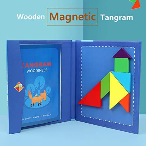 Skryo Kinder Holz Magnetic Tangram Puzzle Reisespiel Lehrbuch Bildung und Kreatives Spielzeug Fügen Sie dem Spiel etwas pädagogischen Spaß hinzu
