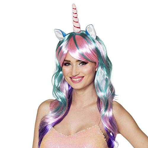 Boland 85818 – Perruque licorne Daydream avec oreilles et corne, cheveux longs lisses Carnaval, Halloween, carnaval, fête à thème, déguisement, théâtre