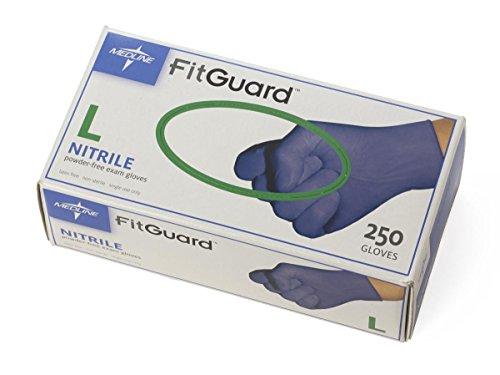 Medline FG2503H FG2503H FitGuard Nitrile Exam Gloves, Large, Dark Blue (Box of 250)
