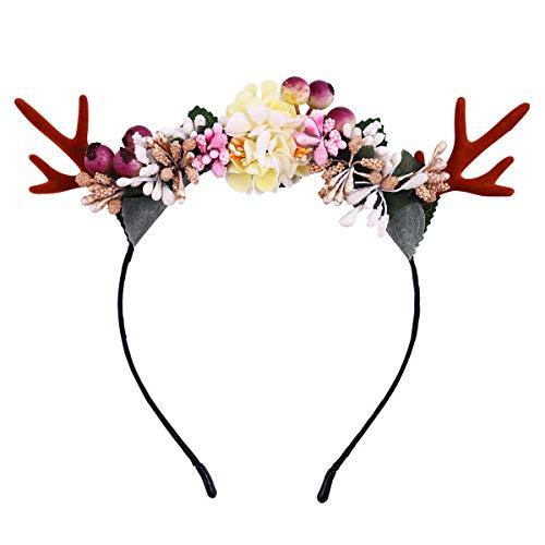 Frcolor Weihnachten Hirschgeweih Stirnband Mädchen Frauen Cute Hair Hoop mit Blumen Headpiece Headware für Karneval Party