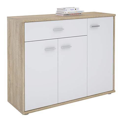 CARO-Möbel Kommode Estelle Sideboard Mehrzweckschrank, Sonoma Eiche/weiß mit 3 Türen und 1 Schublade, 88 cm breit