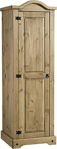 Seconique Corona 1 Door Wardrobe, Distressed Waxed Pine, 184.5x60x56.5 cm