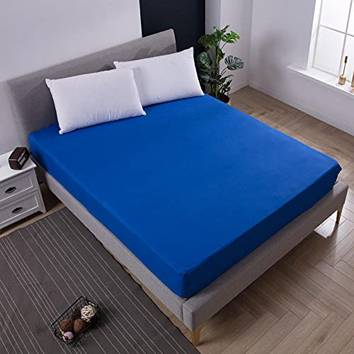 DSman Funda de colchón Anti chinches, Transpirable, Sábana Impermeable a Prueba de orina Pure Color-Blue_Queen_60X80 + 18