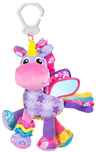 Playgro Peluche de Actividades Stella el Unicornio, Juguete para Colgar, Desde el nacimiento, Rosa/Violeta, 40183