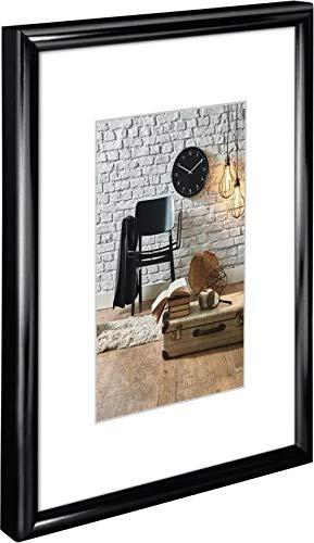 Hama Bilderrahmen 30 x 40 cm, mit Papier-Passepartout 20 x 27 cm, hochwertiges Glas, Kunststoff Rahmen, zum Aufhängen, schwarz