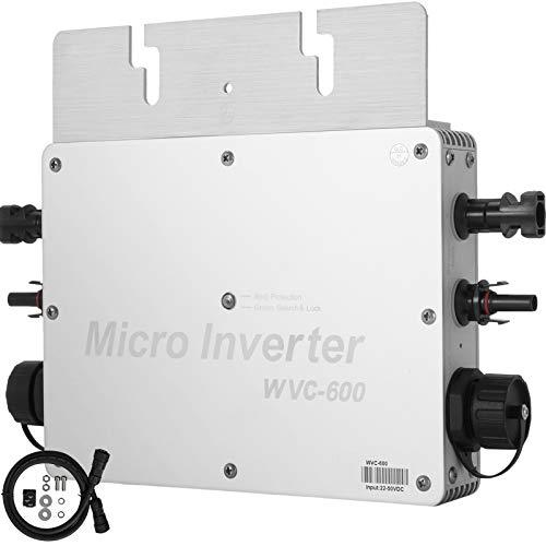 VEVOR Convertidor de Onda Sinusoidal Pura DC a AC 220 V, Convertidor de Voltaje con Conmutación a La Red 40 A, Inversor de Onda Sinusoidal Pura de 600 W, Aparato Eléctrico IP65 con Tecnología MPPT