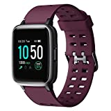 YAMAY Smart Watch for Android and iOS Phone IP68 Waterproof, Fitness Tracker Watch with Heart Rate Monitor Step Sleep Tracker, Smartwatch Compatible with iPhone Samsung, Watch for Men Women Purple