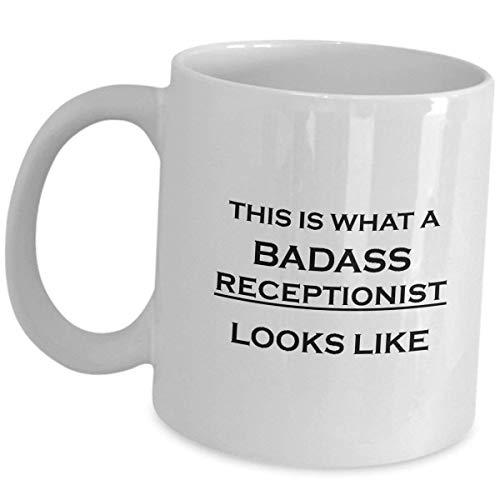 LESKETH Receptionist Coffee Mug Cup Gifts - What Badass Looks Like - Front Desk Clerk Secretary Hotel Novelty Appreciation Employee Office Gift Funny Cute Gag Receptionists Women Men