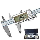 Calibrador Digital 0-6 Pulgadas /150 mm Pie De Rey Herramienta de Medición Calibradores de Lcrómetro Digital Regla Pantalla LCD Completa de Acero Inoxidable, Digital Caliper