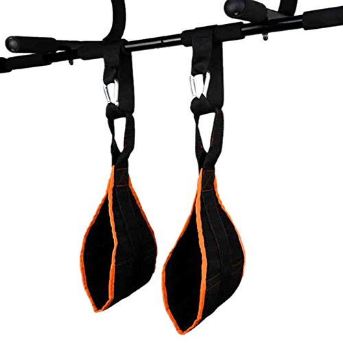 Gepolsterte Hängenden AB Straps, Armschlaufen Bauchtraining, Slings Armschlaufen Bauchtraining, Bauchmuskelschlaufen, für Bauchtraining, Klimmzugstange Schlaufen (Orange Schwarz)