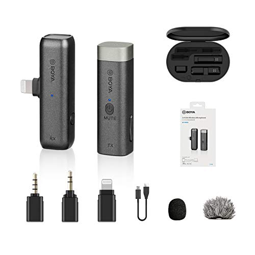 BOYA BY-WM3D Micrófono inalámbrico de 2,4 GHz con adaptador Lightning certificado por MFI, adaptador TRS y TRRS de 3,5 mm y estuche de carga Compatible con dispositivo iPhone IOS, DSLR y videocámara