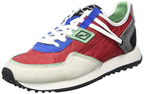 REPLAY R-81, Zapatillas para Hombre, 2845 Rojo Azul Claro Verde Menta, 42 EU