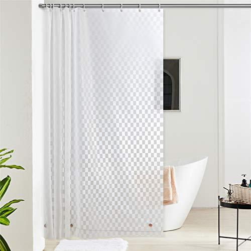 Furlinic 180x200 Duschvorhang aus Eva Badvorhang Anti-schimmel Transparent Vorhänge in Badezimmer für Badewanne Dusche Rechteck mit 12 Duschvorhangringe Saum mit Steinen.