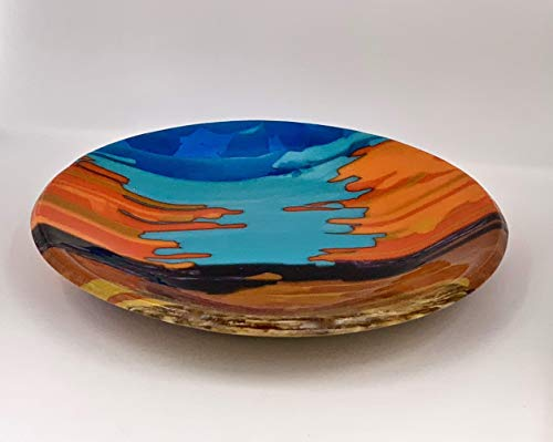 Faye Liston Fine Art Glassart Glass Decorative Southwestern Collection Bowl In Turquoise And Orange Dailymail