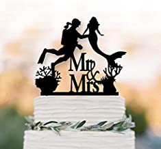 AIGUOQQ Mermaid Wedding cake topper Scuba Diver wedding cake topper mr and mrs cake topper Scuba Divercake decor mermaid cake topper