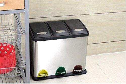 Maison & Cuisine Acier inoxydable Double Barrels Poubelle, classification Step Outdoor Protection de l'environnement 16L / 45L / 48L Trash Cans ( Couleur : 3- barrels , taille : 45L )