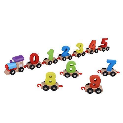 Hztyyier Tren de Juguete de Madera, Bebé Divertido de Madera Tren de Juguete para niños Aprendizaje temprano Juguetes educativos