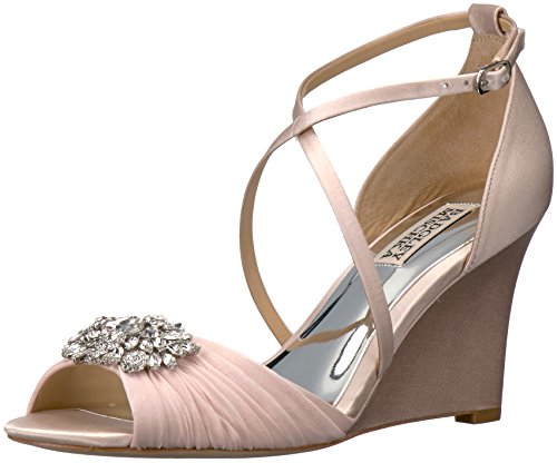 Badgley Mischka Women's Tacey Wedge Sandal, Light Pink, 8 M US