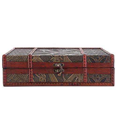 Emoshayoga Exquisito Organizador de Almacenamiento de Joyas, Caja de Almacenamiento de Madera, Compacto, Delicado, Vintage, decoración de Mesa de(Narcissus)