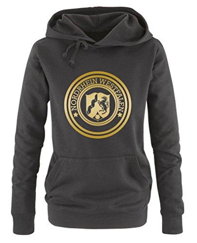 Comedy Shirts - Stadtwappen Nordrhein Westfalen - Damen Hoodie - Schwarz / Gold Gr. S