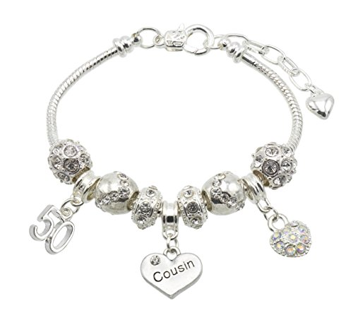 Jewellery Hut Cousin Birthday Charm Bracelet with Gift Box - Ages Available...