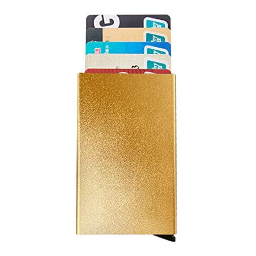 Soporte de bloqueo RFID para tarjetas de visita, de aluminio/protección de identidad, para tarjetas de visita, cartera, 5 ranuras para tarjetas, para hombre y mujer