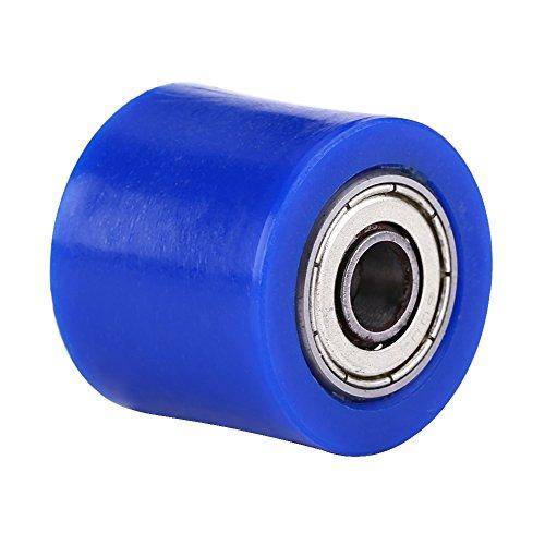Qiilu 8mm Universal Cadena de rodillos guía Polea tensora Rueda para moto Dirt Bike Enduro(azul)