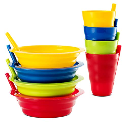 Plaskidy Cereal Bowls with Straws and Kids Straw Cups - Set of 4 Bowls with Straws for Kids, and 4 Straw Cups for Kids BPA Free Dishwasher Safe Great for Kids and Toddlers