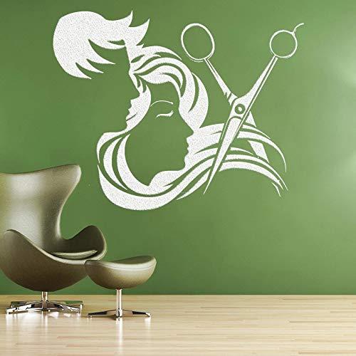 WERWN Calcomanías de Pared de Ventana diseñador peluquería decoración de Tienda peluquería Vinilo calcomanías de Pared Personalizadas