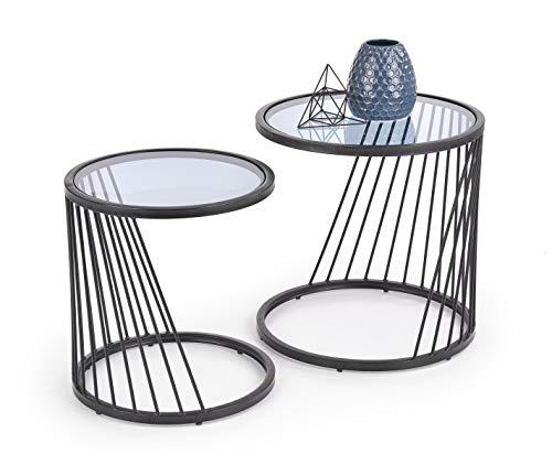 Luenra - Set di 2 tavolini da salotto, tavolino da caffè, in vetro fumé, 42 × 42 × 45 cm e 50 x 50 x 50 cm, rotondi, struttura in acciaio inossidabile, stile moderno, Art Déco, Industriale
