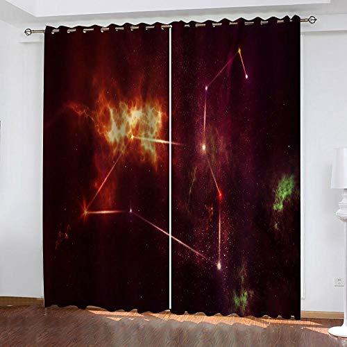 CGZLNL Cortinas Opacas Cortinas de Impresión 3D constelación Cortinas termicas con Ojales para Dormitorio Salón Poliéster Cortina 2 Paneles 110x215 cm A x A