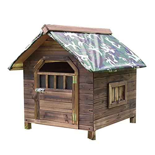 Casa para Perros de Madera carbonizada al Aire Libre con Puerta Ventanas Dobles Cabaña de Troncos para Mascotas Perrera Resistente a la Intemperie Muebles para Mascotas para el hogar a Prueba de AGU