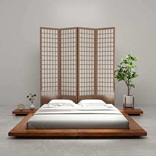 Festnight Cadre de Lit en Bois Style Japonais Tatami 160 x 200 cm