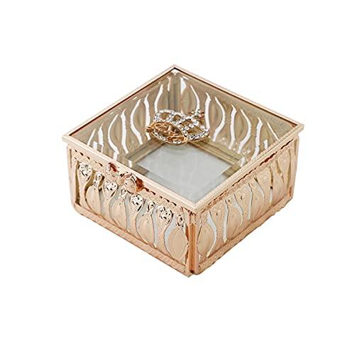 OMYLFQ Caja de joyería Retro Europea de joyería Creativa de joyería de Vidrio de joyería aretes Pendientes de Escritorio Mostrar artesanía contenedores, Regalo para Mujeres (Size : E)