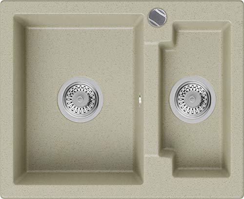 PRIMAGRAN Fregadero de Granito - Paris, Lavabo Cocina 1,5 Senos + Sifón Automático, Fregadero Empotrado 59,5 x 48,5 cm, Beige