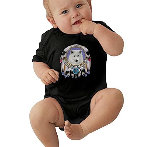 Inaayayi Body de manga corta para bebé con diseño abstracto blanco con lobo de medianoche Art Poster Baby Bodysuits unisex para bebés