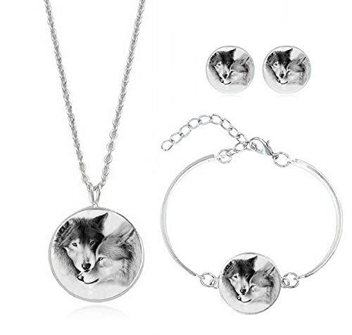 Uhat Howling Wolf Time Gemstone Necklace Pendant Bracelet Earring Set Sweater Chain Fashion Jewelry