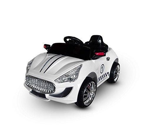MEDIA WAVE store Macchina elettrica Bianco LT869 per Bambini Auto Sport monoposto 6V luci e Suoni