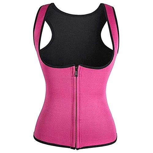 Zhizhuo - Chaleco deportivo para mujer, corsé de fitness, moldeador de cintura para entrenamiento de adelgazamiento, camisetas deportivas con cremallera, rojo rosado, 2XL