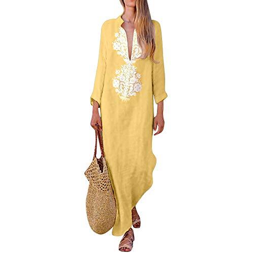 Sannysis Damen Maxikleid Langes Elegantes Kleid Strandkleider Türkischer Stil Boho Strandponcho Lose Maxi Kimono Kaftan Tunika Lange Sommerkleider (S, Gelb-2)