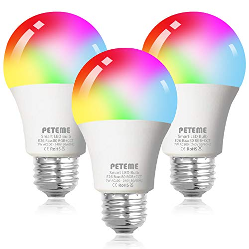 Smart WiFi Alexa Light Bulb, Peteme Led RGB Color Changing Bulbs, Compatible with Alexa, Siri, Echo, Google Home (No Hub Required), E26 A19 60WMulticolor (3 Pack)