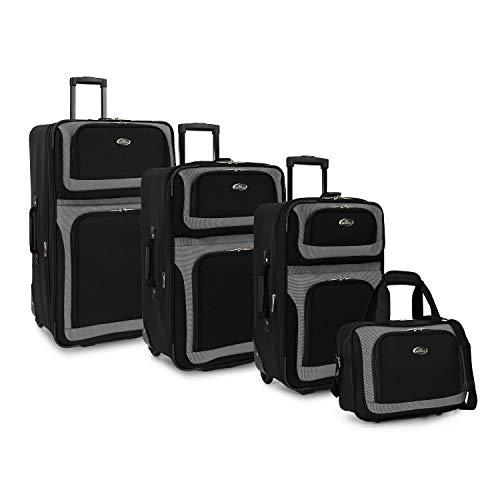 U.S. Traveler New Yorker Lightweight Expandable Rolling Luggage, Black, 4-Piece Set