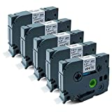 Cartucho de cintas de colores de 12 mm x 8 m, compatible con Brother P-Touch Tze y Tz, pack de 5 unidades , color TZe-231 Black on White