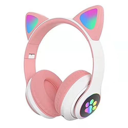 Shunxiang Katzenohren Bluetooth-Headset kopfmontierte drahtlose Sportbeleuchtung Spiel Live-Stimme 粉白