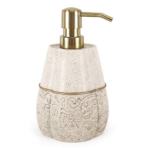 Lewondr Dosatori per Sapone, 400ml Dispenser Sapone Liquido con Pompa, Riutilizzabile Riempibile Bottiglia in Resina per Shampoo Lotion per Bagno Camera Cucina - Cachi